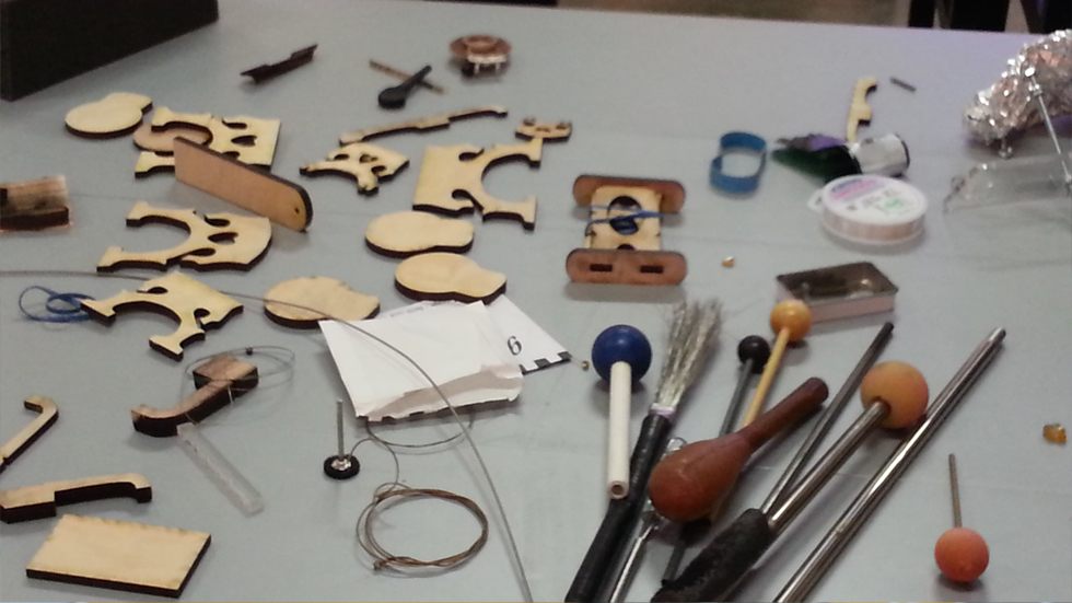 Modifying stringed instruments at the Museum of Contemporary Art Houston, TX 2014